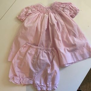 Smocked dress size 3 months pink checked bloomers